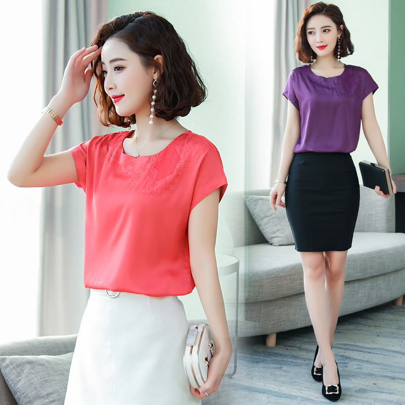 Summer Korean Fashion Silk Women Blouses Solid Short Sleeve Women Shirts Plus Size XXXL Blusas Femininas Elegante Ladies Tops