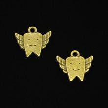 45c92bfc5230 63 piezas bronce antiguo de los encantos de la aleación del cinc plateado  dientes de hadas encantos para la joyería que hacía DI.