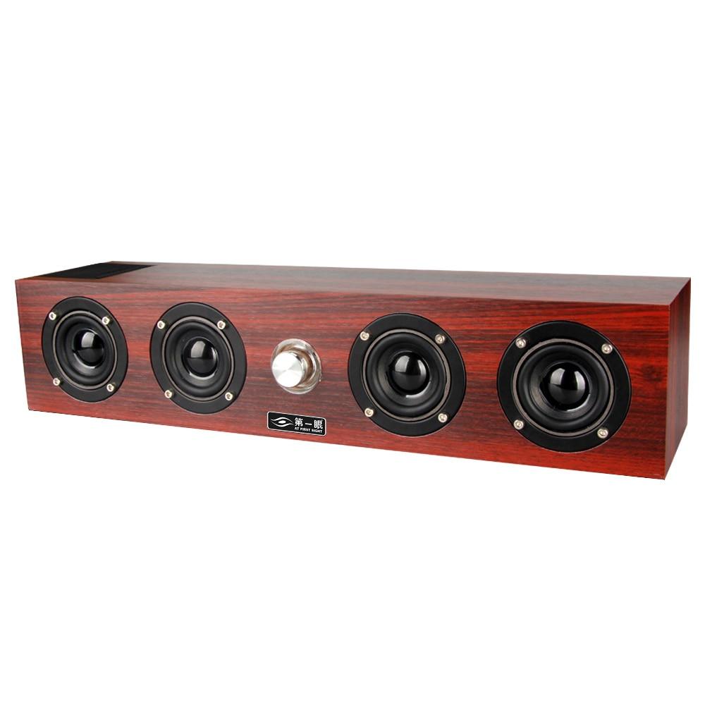 купить 14W 4 Speaker Wooden Bluetooth Speakers Soundbar Portable Handfree Outdoor Music Player USB Mp3 Boom Box caixa de som Computer по цене 3026.19 рублей
