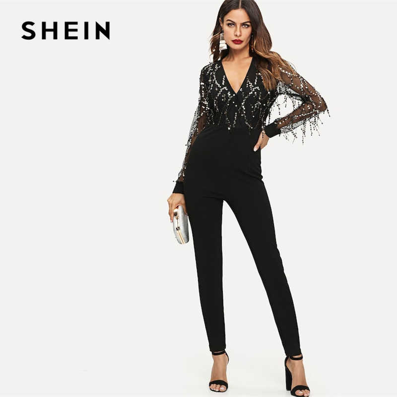 a6c0f4633a9 SHEIN Black Highstreet Sequin Embellished Mesh Sleeve Fitted Long Sleeve  Skinny Jumpsuit Autumn Fashion Party Women