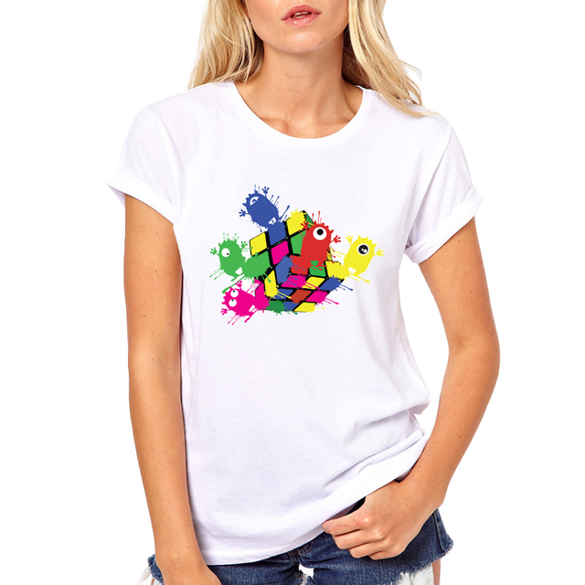 2018 Funny Happy Magic cube T-Shirt Women's Personalized Custom T Shirts  Summer Casual Street wear Short Sleeve Tops Tee