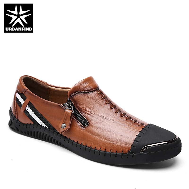 Genuine Leather Men Casual Shoes Sneakers Size 38-44 Sewing Design Man Fashion Soft Loafers Moccasins Black Brown