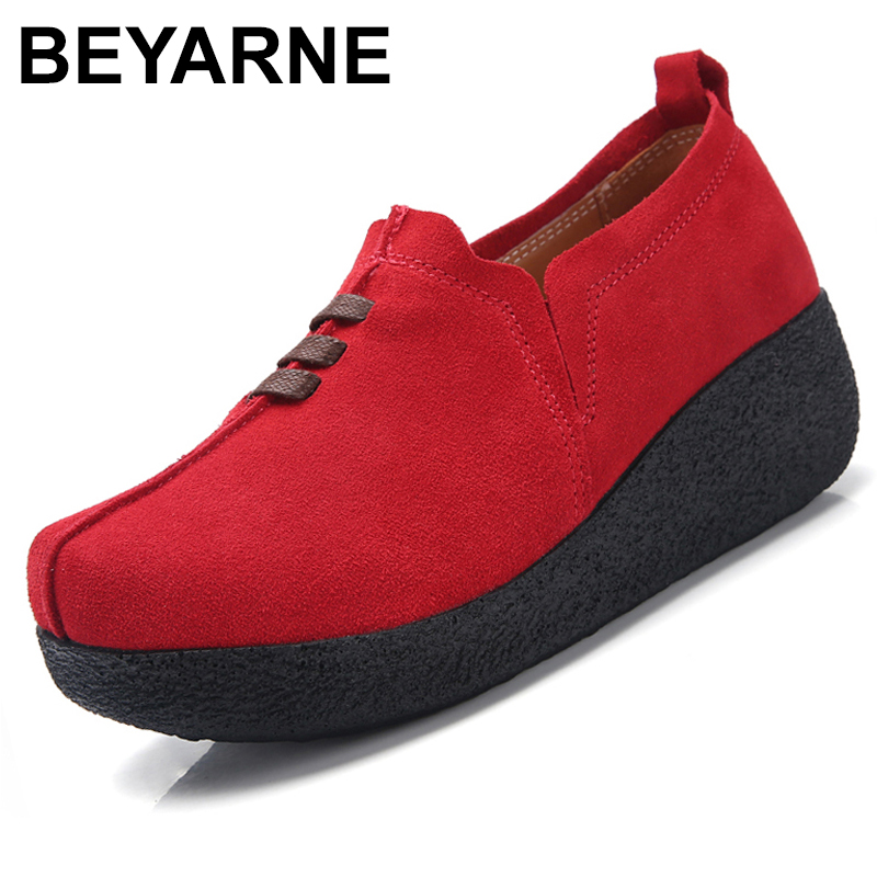BEYARNEPlus Size 35-43 Women Flat Platform Coin Loafers   Suede     Leather   Slip On Ladies SpringShoes Flats Women CreepersSneakerE084