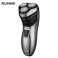 RUNWE 1.5 hour Charge Men Electric Shaver 100-240V Rechargeable Electric Shaver 3D Triple Floating Blade Heads Shaving Razors