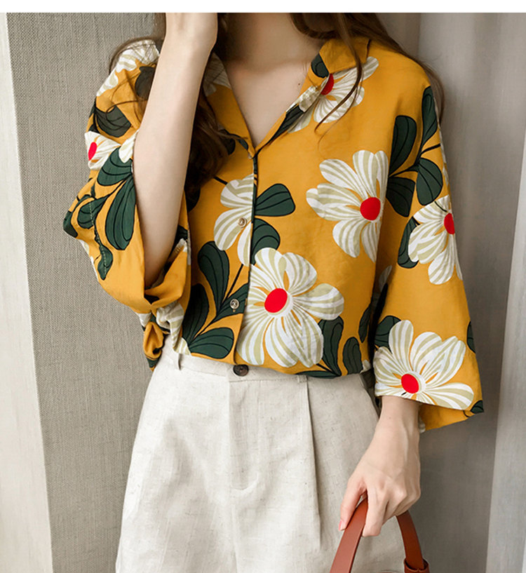 801f2daec19b2 ... Summer Tops Women Blouses 2019 New Chic Flower Shirt Casual Chiffon  Blusas Mujer Fashion Print Tops ...