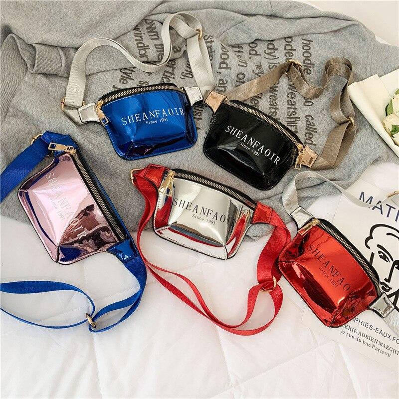 Fashion Kids Leather Waist Bag Laser Baby Girls Fanny Pack Wallet Chest Bag Boy Belt Bag Waist Packs