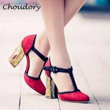 Choudory Woman Pumps Luxury Brand Chunky High Heels Zapatos Mujer Wedding Dress T tied Round Toe
