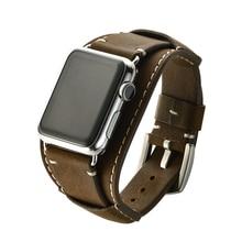 Роскошный панк-браслет для Apple Watch 38 мм 42 мм ремешок из натуральной кожи для iWatch 40 мм 44 мм Серия 1 2 3 4 кожаный ремешок для часов