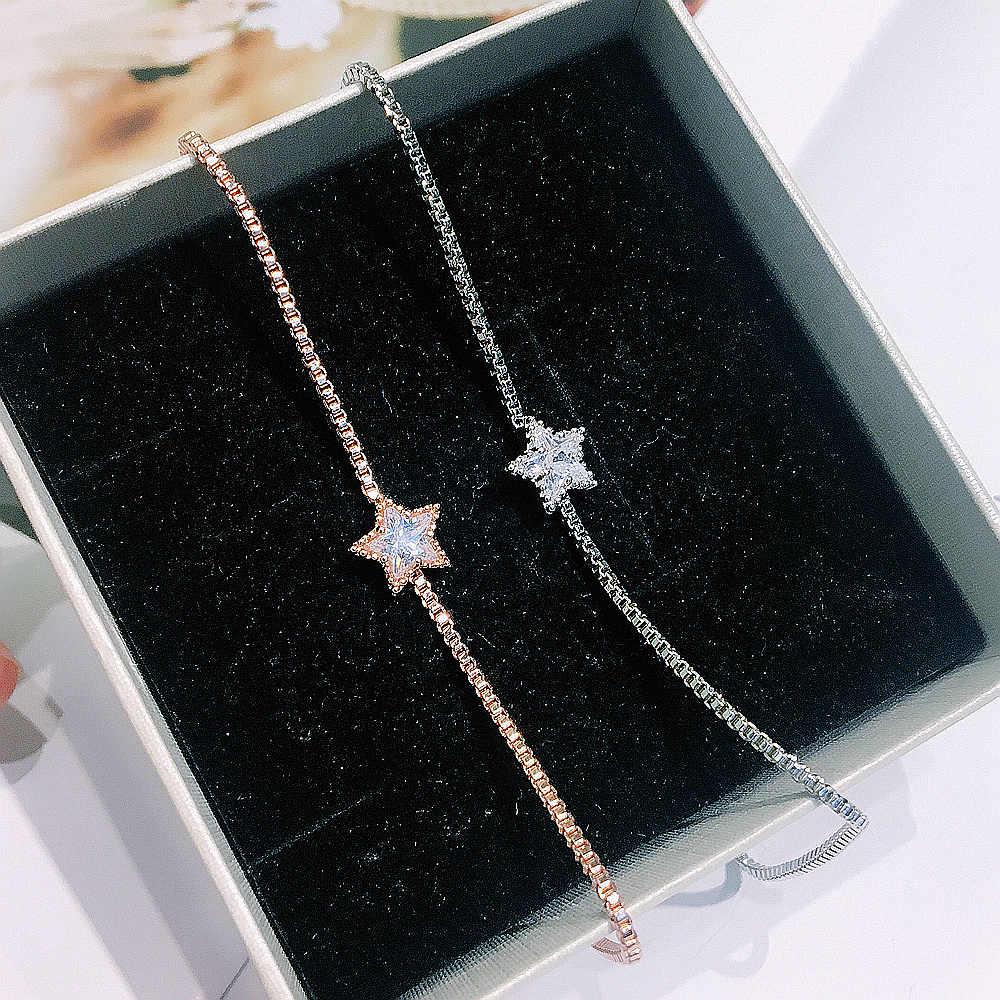 MIGGA 2018 metry sześcienne mieści się cyrkon kryształ gwiazda urok łańcuch bransoletka dla kobiet modna bransoletka złoty/srebrny kolor