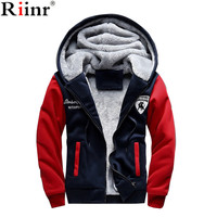 Riinr 2017 New Fashion Fleece Hoodies Men Winter Casual Men S Jackets Patchwork Men Coats Plus