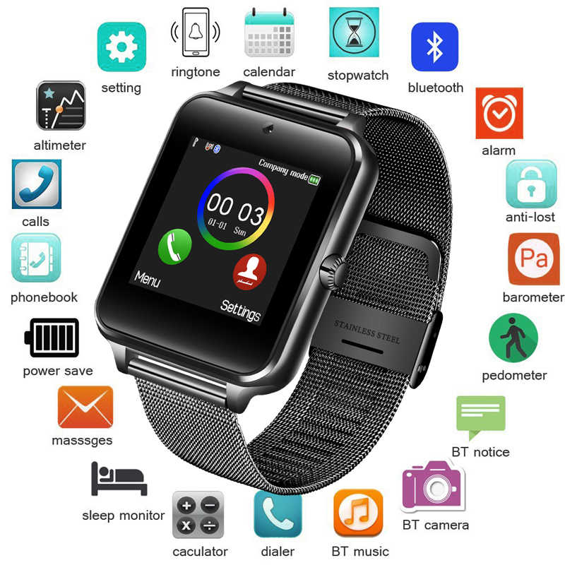 BANGWEI Smart Watch Men's and Women's Digital Electronic Watch Stainless Steel Sports Watch Supports SIM TF for Android Phone