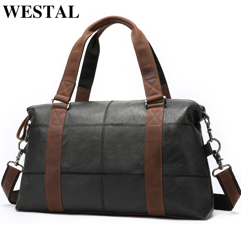 WESTAL Men Travel Bag for Luggage Men Genuine Leather Duffle Bag Suitcase Carry on Luggage Bags Big Weekend Bags Travel 9527WESTAL Men Travel Bag for Luggage Men Genuine Leather Duffle Bag Suitcase Carry on Luggage Bags Big Weekend Bags Travel 9527