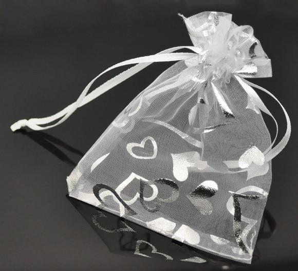 DoreenBeads Organza Organza Jewelry Bags Drawable Rectangle White Heart Pattern 12cm X9cm(4 6/8