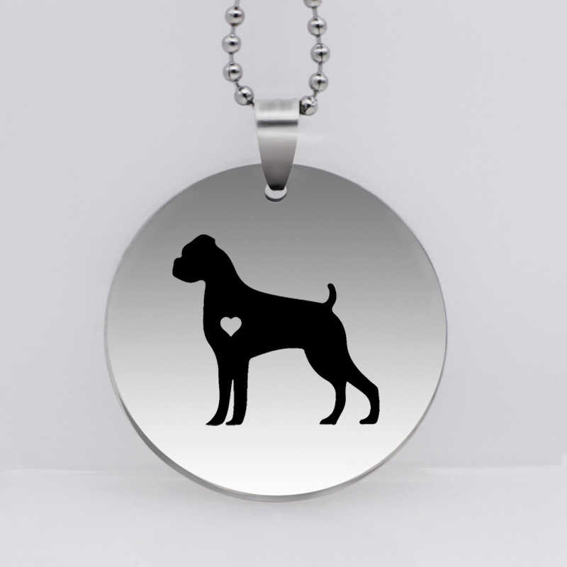Stainless Steel Boxer Dog Pendant Necklace Personality Lover Puppy Jewelry Gift for Women Drop Shipping YLQ6171