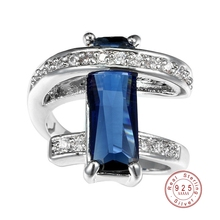 Classic Luxury Real Solid 925 Sterling Silver Ring 2 CT 5 Color Zircon Crystal Wedding Jewelry Ring Engagement For Women Rings