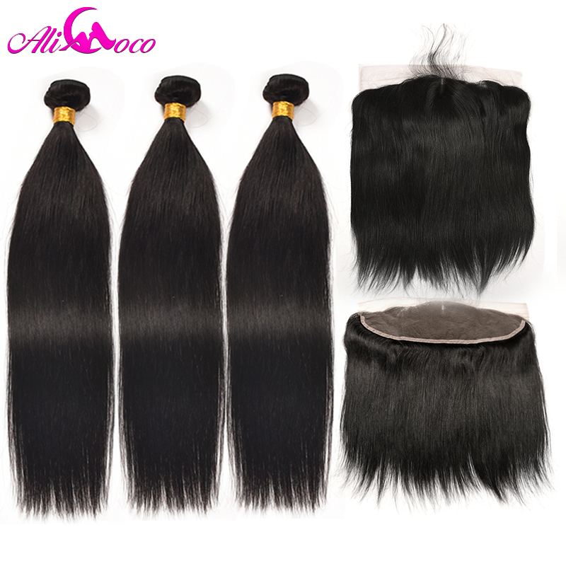 Ali Coco Brazilian Straight Hair 13x4 Lace Frontal Closure with Bundles Non Remy Human Hair With Baby Frontal Closure Free Part