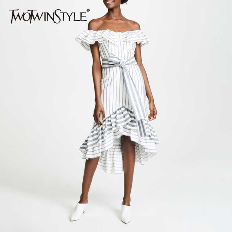 90f89f31d39 TWOTWINSTYLE Striped Dress For Women Slash Neck Belt High Waist Ruffles  Irregular Long Party Dresses 2018