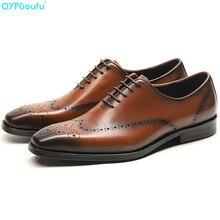 цена на Genuine Cow Leather Italian Formal Shoes Men Designer Dress Shoes Black Brown Lace-up Fashion Retro Brogue Shoes