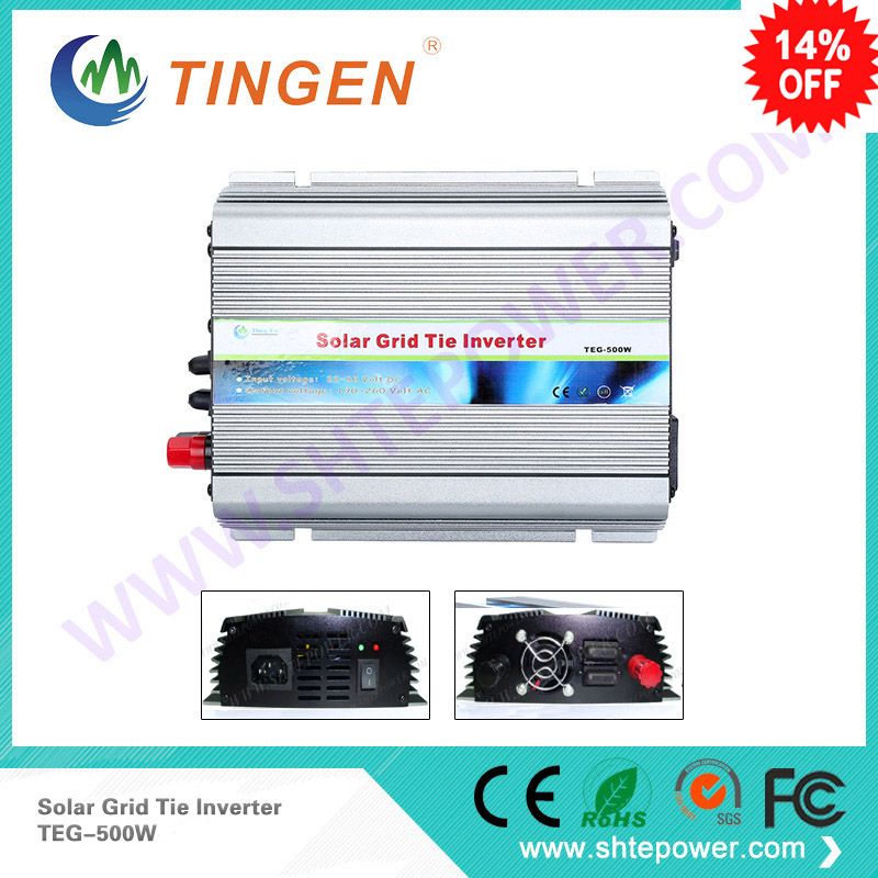 Inverter Stackable high quality dc 12v 24v input to ac output standard voltage home use on grid tie solar mini inverter 500w 300w solar grid on tie inverter dc 10 8 30v input to two voltage ac output 90 130v 190 260v choice