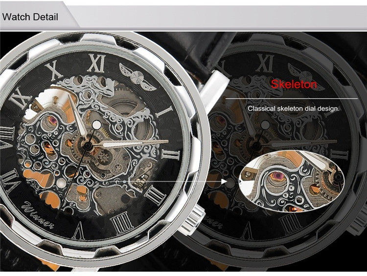 Image 3 - 2016 new hot sale skeleton hollow fashion mechanical hand wind men luxury male business leather strap Wrist Watch relogio-in Mechanical Watches from Watches
