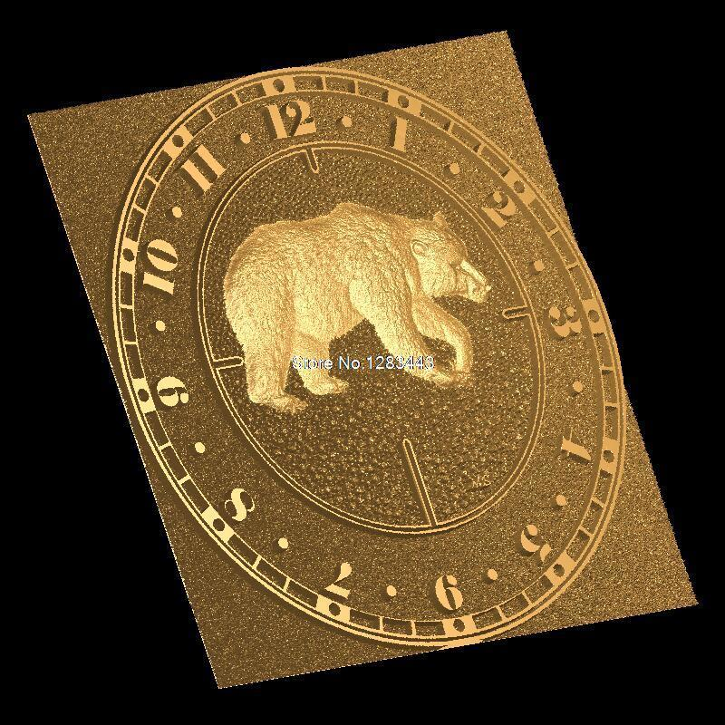 CNC 3d Relief Model STL For CNC Machine Wall Clock Bear