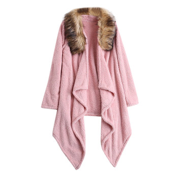 Women Cardigan Winter Plush Faux Fur Patchwork