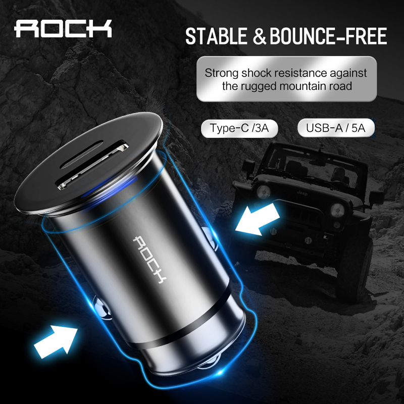 ROCK metal mini PD car charger USB type c output 5A fast charge Travel Adapter Cigar Lighter for iphone xs Phone Car Charger