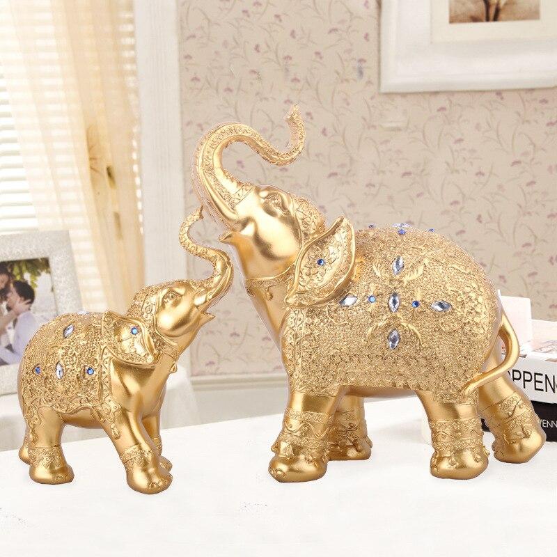 2 Pz/set Thailandia Elefante In Resina Artigianato Decorazione Della Casa Accessori Statuette Decorazione Della Casa Arredamento per La Casa Interni