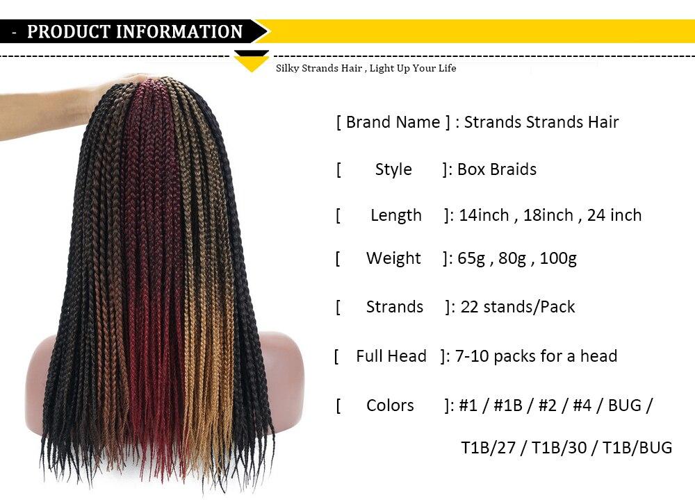 Sedoso Strands Medium Box trenzas Crochet extensiones de cabello ...