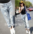 789 Free Shipping High Quality 2014 New Summer Women's Fashion Casual Stylish Ripped Holes Blenched Leopard Cuffs Straight Jeans