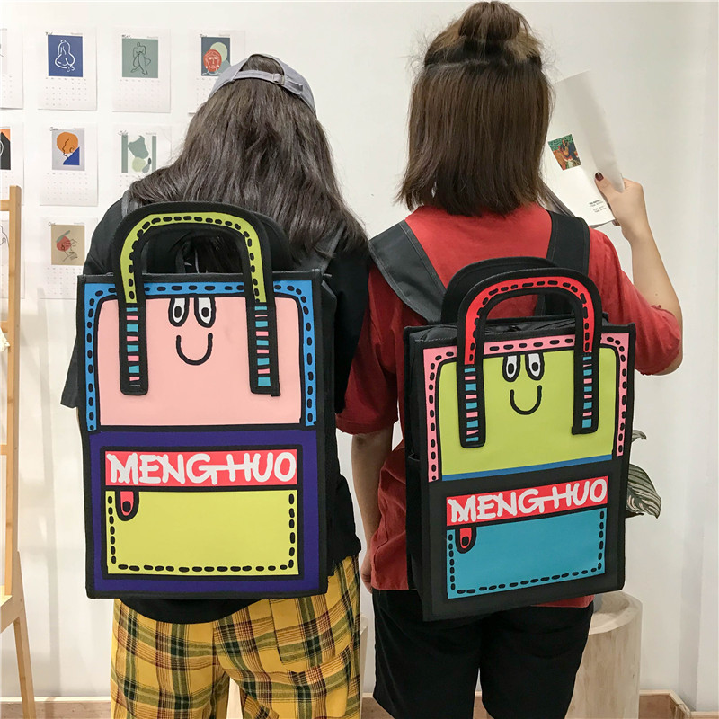 Tide Secondary Element Comic Backpack Fashion College Wind Student Bag Casual All Match Personality 2D Cute Backpack