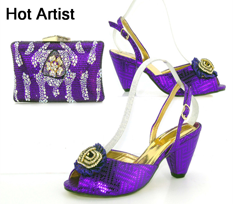 Hot Artist Italian Style Rhinestone Woman Shoes And Matching Bag Set Fashion High Heels Shoes And Bag Set For Party TYS17-92