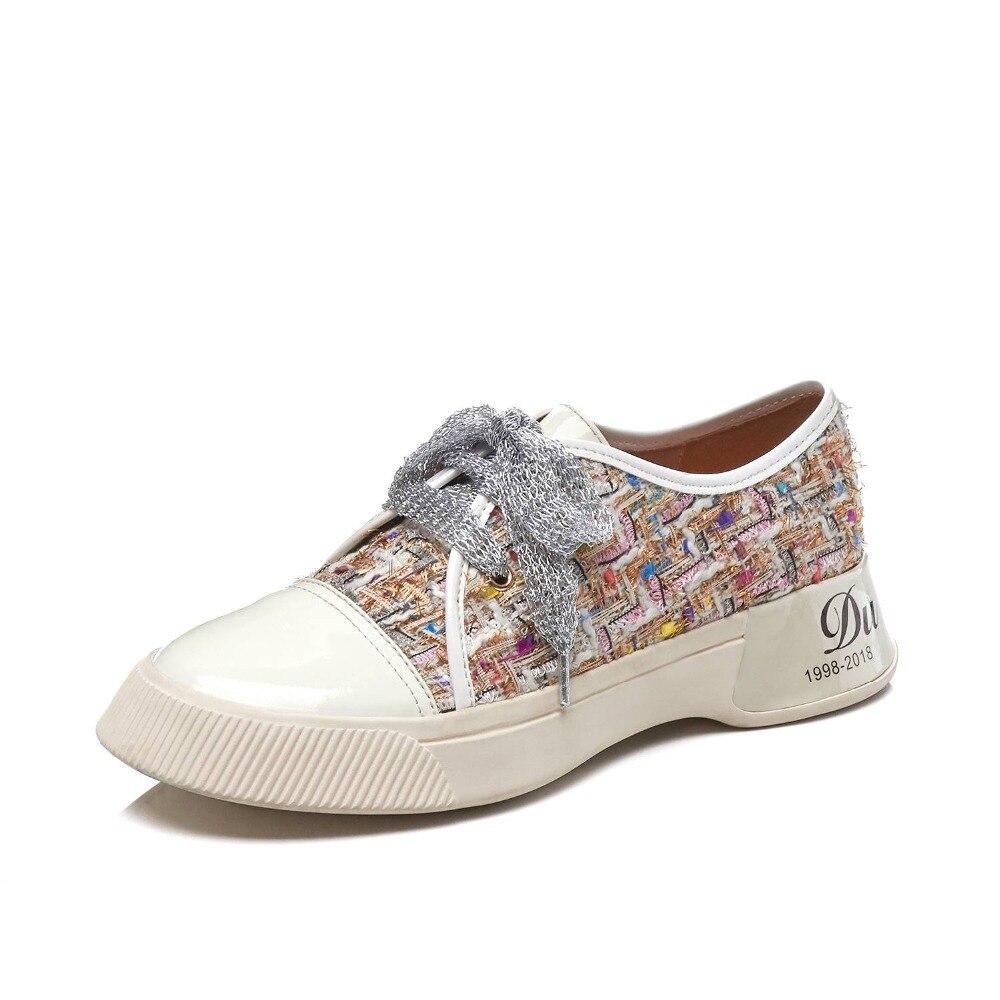 Krazing وعاء الفتيات الصغيرات الدانتيل يصل مختلط الألوان سميكة أسفل رياضية رائع الدانتيل يصل تنفس جولة اصبع القدم أحذية مفلكنة L17-في أحذية مطاطية نسائية من أحذية على  مجموعة 2