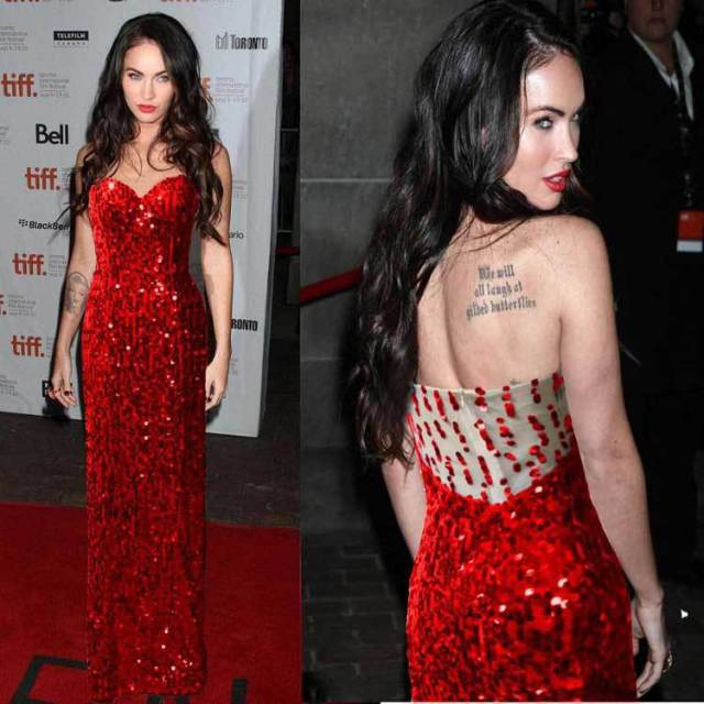 New!! Fashion Free Shipping Long Red Sequins Beads seeveless Evening Dresses