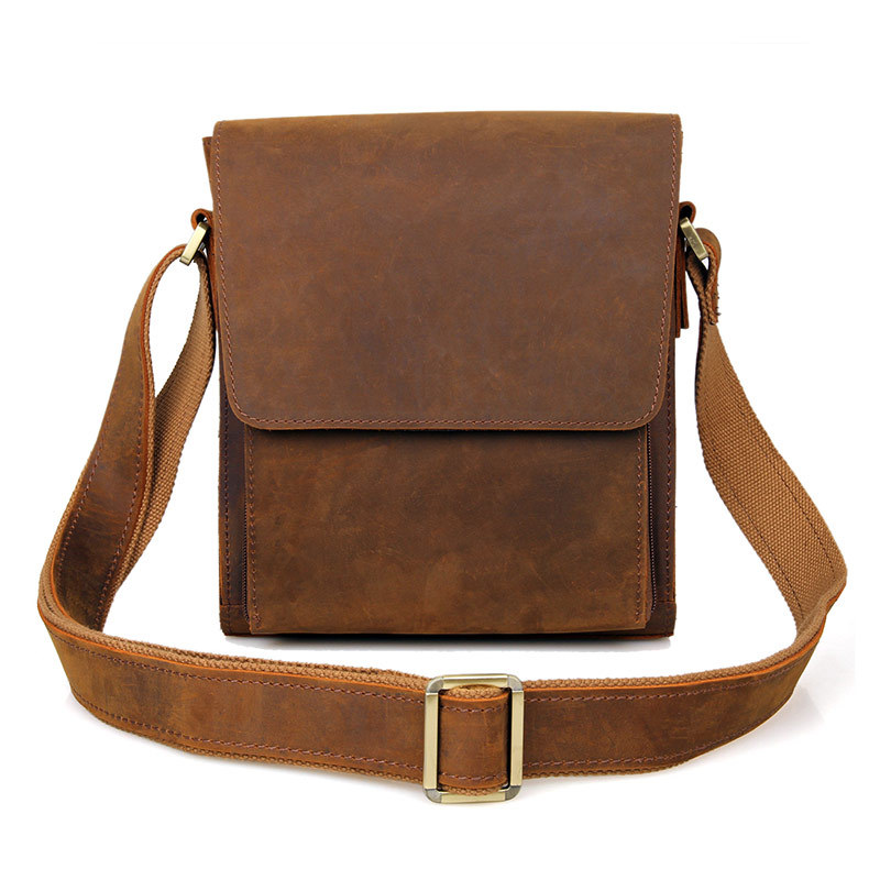 Men s vintage genuine leather iPad messenger bag Thick Cow leather shoulder bag small casual crossbody