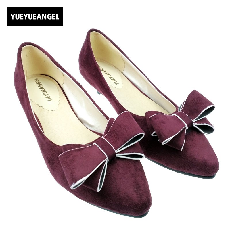 Fashion Concise Euro Style Low Heels Pointed Toe Shallow Wedding Shoes Solid Slip On Butterfly Knot