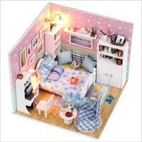 Il Piccolo Padiglione Di Sogno Famiglia Bambola di Legno Dollhouse Miniature Mobili LED Kit Luce Musica Regalo