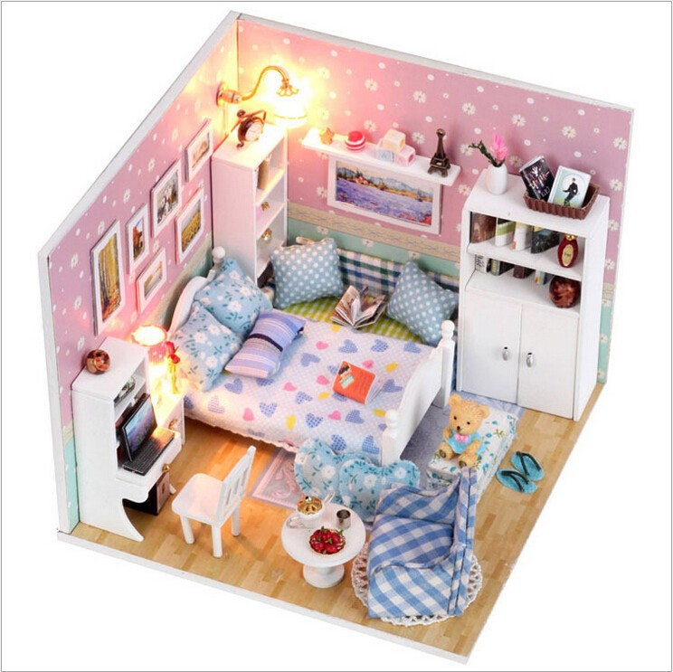The Small Pavilion Of Dream Household Doll Wooden Dollhouse Miniatures LED Furniture Kit Light Music Gift
