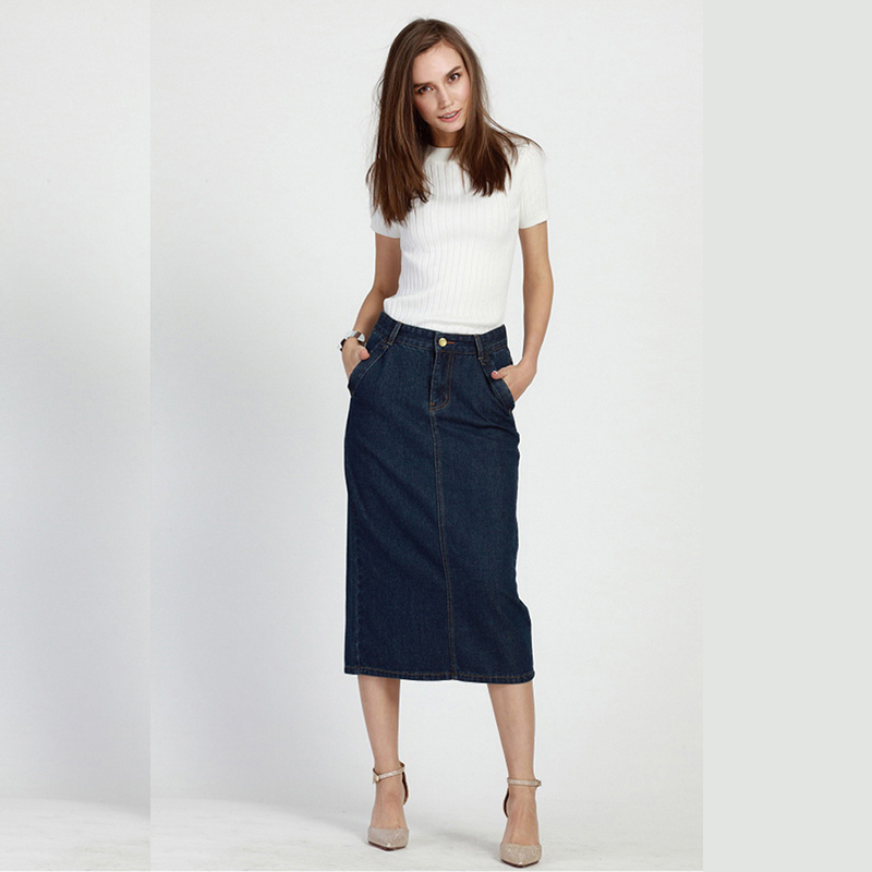Summer Style Women A Line Skirt Water Wash Denim Bust ...