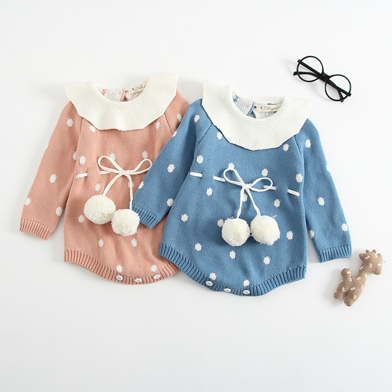 Infant Girls Knitted Romper Newborn Baby Girls Pompom Rompers Hight Quality Girls Peter Pan Collor Jumpsuit B0061