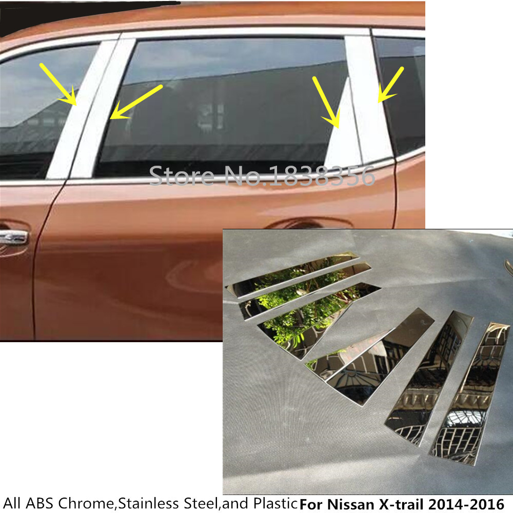 For Nissan X-trail Xtrail T32/rogue 2014 2015 2016 Stainless Steel Glass Window Garnish Pillar Middle Strip Trim Frame Lamp 8pcs Customers First Exterior Parts