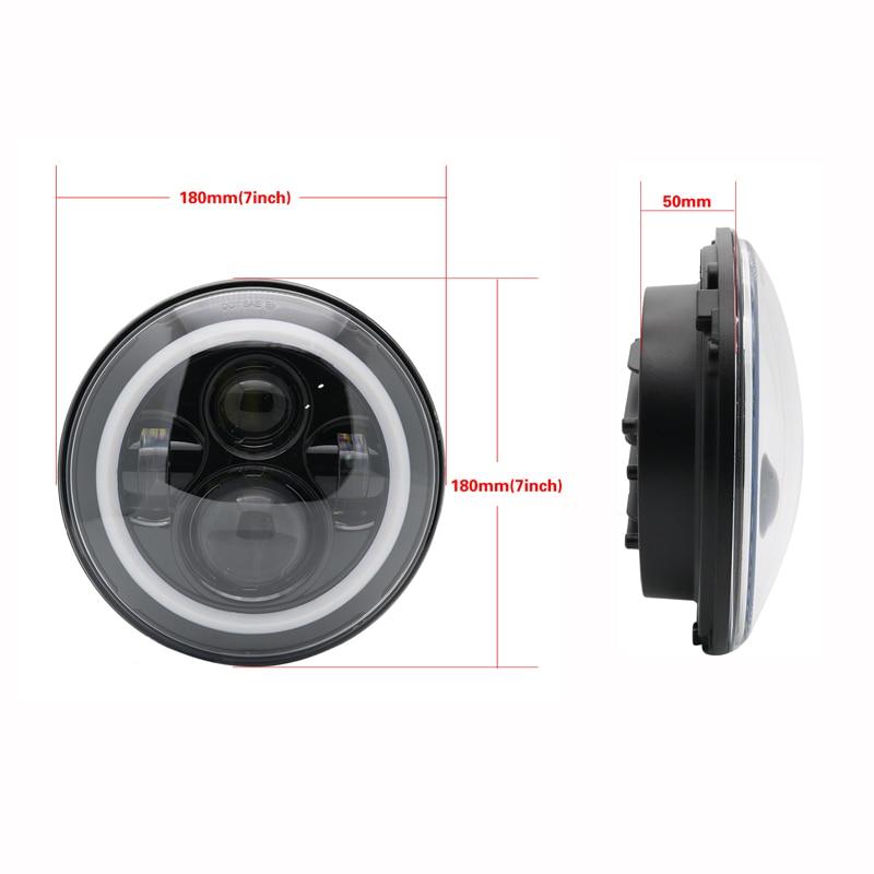 Newest 7 Inch LED Headlamp Halo Ring Amber Turn Signal For Lada Niva 4x4 Suzuki Samurai 7 LED DRL Halo Headlights For VAZ 2101 (5)