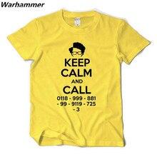 IT CROWD KEEP CLAM &CALL GEEK Tshirts O-neck big yard cotton boy's tee T-shirts thick &soft Euro size high quality fast shipping