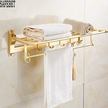 SAFEBET Model Rose Gold Lavatory Folding Towel Rails Wall Mounted Garments Hanger Towel Hook Body Organizer Lavatory Equipment