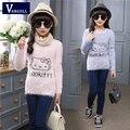 2016 outono e inverno quente da menina bonito dos desenhos animados gato suéter de lã camisola de impressão camisa 3-11