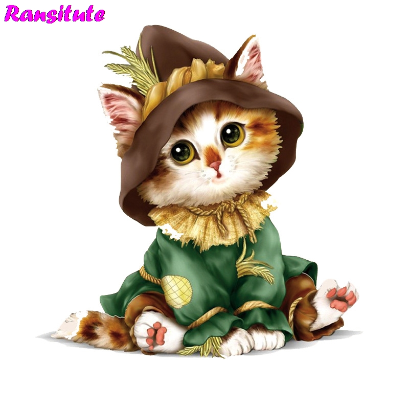 Ransitute R446 Cute Cat Clothing Printing Thermal Transfer T-shirt Denim Clothing Decal Backpack Patch Washable Heat Transfer