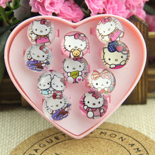 10pcs lovely animation cartoon Children/Kids Cartoon Round-shaped Hello Kitty KT Cat Acrylic Lucite Resin Rings Free Shipping(China)