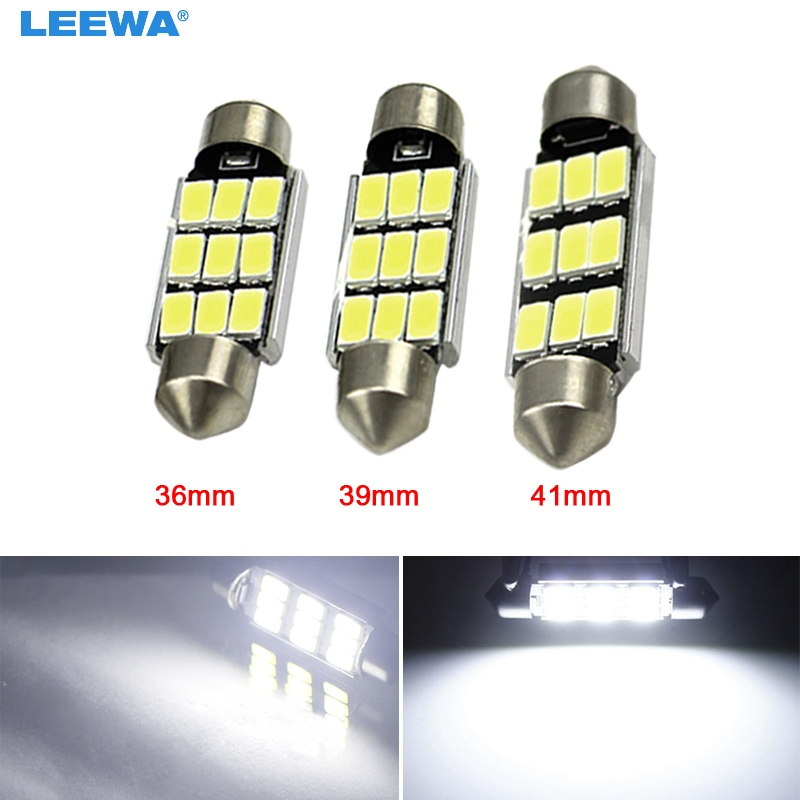 LEEWA 2PCS White 36mm/39mm/41mm 5730 9-SMD Canbus NO-Error Car Festoon Dome Reading LED Lights #CA5288 2pcs festoon led 36mm 39mm 41mm canbus auto led lamp 12v festoon dome light led car dome reading lights c5w led canbus 36mm 39mm