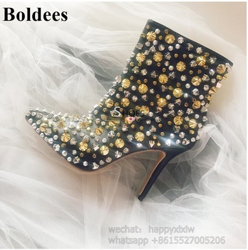 100% Real Pictures Sexy Studded Rivets Mixed Color Evening Party Women Thin High Heel Ankle Boots Black Silvery Dress Shoes