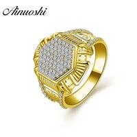 AINUOSHI 10 K массивная, желтая, Золотая свадебная лента винтажное шестиугольное кольцо с кисточкой роскошное 7,1 г свадебное обручальное Золотое